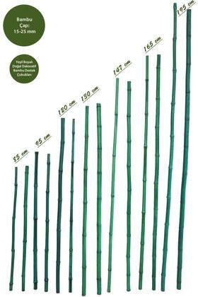 Yapay Çiçek Deposu - Doğal Bambu Çubuğu Yeşil Boyalı