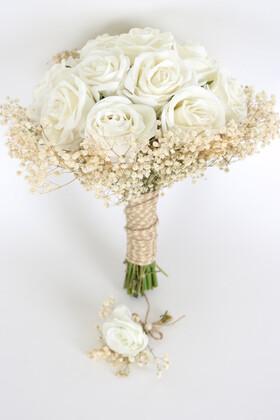 Yapay Çiçek Deposu - Şoklanmış Cipsolu Kadife Güllü Gelin Buketi 2li Set