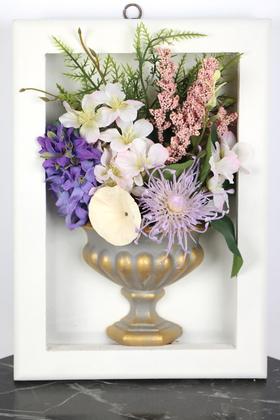 Yapay Çiçek Deposu - Dekoratif Vintage Vazoda Çiçekli Çerçeve Tablo 21cmx30cm