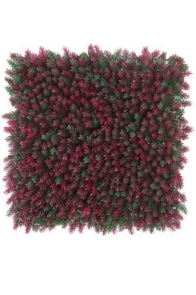 Yapay Çiçek Deposu - Yapay Çamdalı Model Duvar Bitki Kaplaması 50x50 cm Yeşil-Fuşya