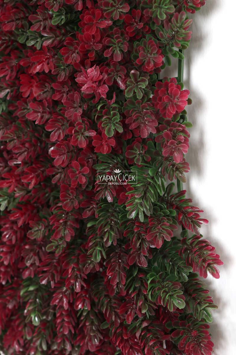 Yapay Çamdalı Model Duvar Bitki Kaplaması 50x50 cm Yeşil-Fuşya