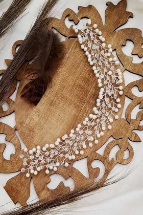 Yapay Çiçek Deposu - Efso İncili Kristal Taş Yaprak Model Gelin Tacı