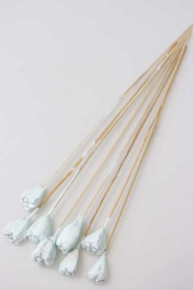 Yapay Çiçek Deposu - 8li Tropik Jack Seed Kuru Çiçek Retro Uçuk Mavi