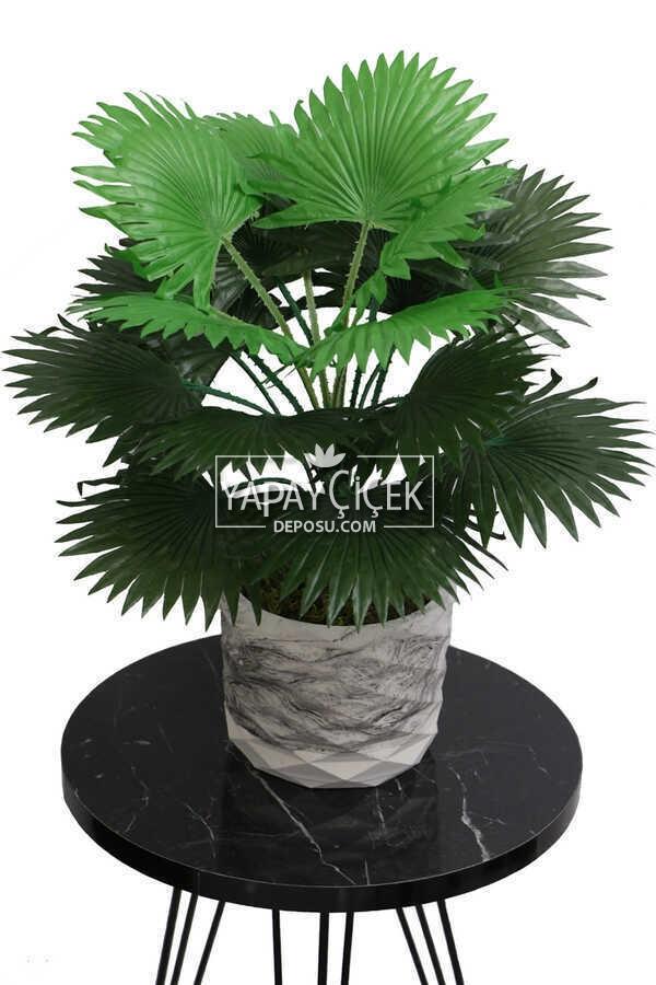 Yapay Çiçek Beton Saksıda18 Dallı Lüx Palmiye Bitkisi 45cm