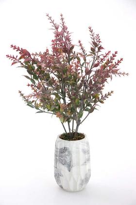 Yapay Çiçek Deposu - Beton Vazoda Masa Bitkisi 35 cm Pembe