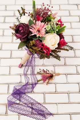 Yapay Çiçek Deposu - Ellada Mürdüm Şakayık Güller ve Ortanca Gelin Buketi 2li Set