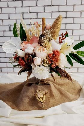 Yapay Çiçek Deposu - Gelin Buketi Emerald 2li Set