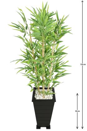 Yapay Çiçek Deposu - Ahşap Konik Saksılı Bambu Ağacı 150 cm
