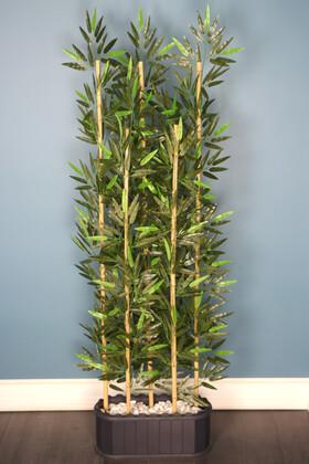 Yapay Çiçek Deposu - Dekoratif Saksıda Kumaş Yapraklı 5 Çubuklu Bambu Seperatör (20x50x180cm)