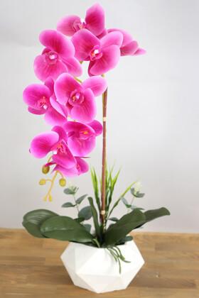 Yapay Çiçek Deposu - Beton Saksıda Yapay Baskılı Islak Orkide 55 cm Fuşya