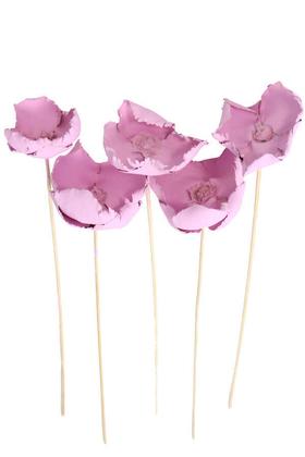 Yapay Çiçek Deposu - Kuru Çiçek 5li Palm Cap Demeti 45 cm Palm Cup Çiçeği Lila
