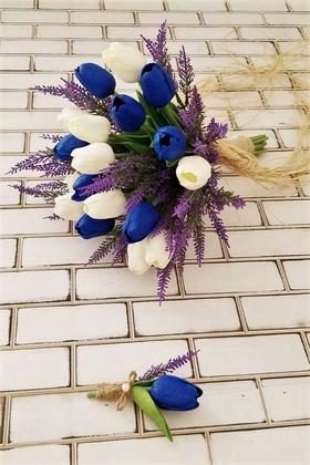 Yapay Çiçek Deposu - Evo Gelin Buketi Saks Mavi Beyaz Islak Lale Mor Lavanta Esintisi 2li Set