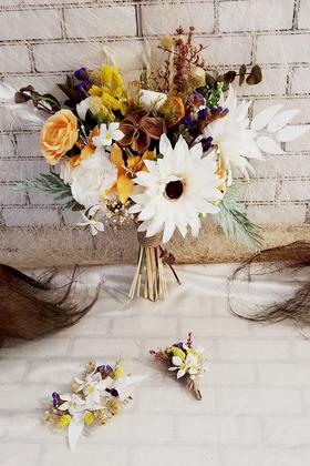 Yapay Çiçek Deposu - Exclusive Serisi Luana Gelin Buketi 3lü Set
