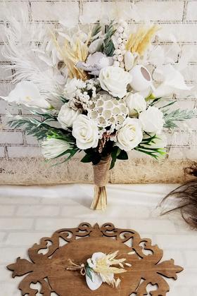 Yapay Çiçek Deposu - Exclusive Serisi Beyaz Kuğu Gelin Buketi 2li Set