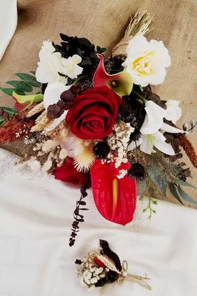 Yapay Çiçek Deposu - Exclusive Serisi Emilia Büyük Salaş Gelin Buketi 2li Set