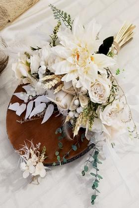 Yapay Çiçek Deposu - Exclusive Serisi Kardelen Gelin Buketi 2li Set