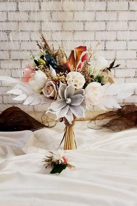 Yapay Çiçek Deposu - Exclusive Serisi Luz Gelin Buketi 2li Set
