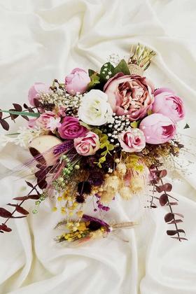Yapay Çiçek Deposu - Exculisve Serisi Elome Büyük Gelin Buketi 2li Set