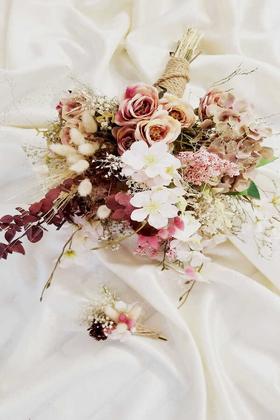 Yapay Çiçek Deposu - Exculisve Serisi Tuana Salaş Gelin Buketi 2li Set