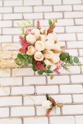 Yapay Çiçek Deposu - Feodor Pudra Güller Gelin Buketi 2li Set