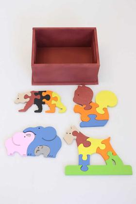 Yapay Çiçek Deposu - 4lü Hayvanlar Alemi Ahsap Puzzle Seti(Kutulu)