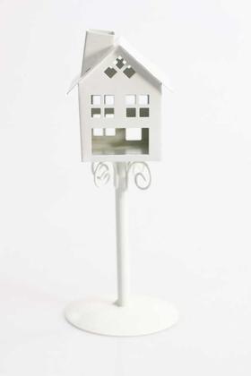Yapay Çiçek Deposu - Ferforje Ev Tealight Mumluk Beyaz