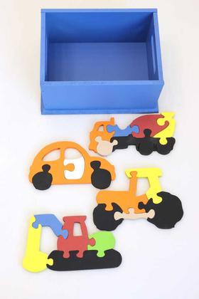 5li İs Makineleri Ahsap Puzzle Seti(Kutulu) - Thumbnail