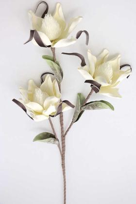 Yapay Çiçek Deposu - Exclusive Yapay Sarhoş Yapraklı Lateks Manolya Dalı 100 cm Kırık Beyaz