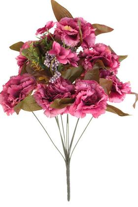 Yapay Çiçek Deposu - Yapay Çiçek 11 Dal Lüx Karanfil Aranjmanı Fuşya
