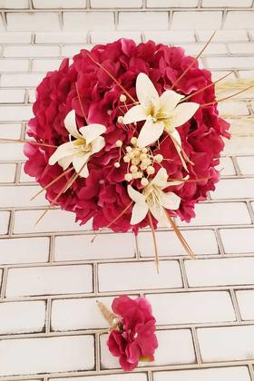 Yapay Çiçek Deposu - Gelin Buketi Fuşya Ortanca Lilyum Kuru Çiçek Şöleni 2li Set