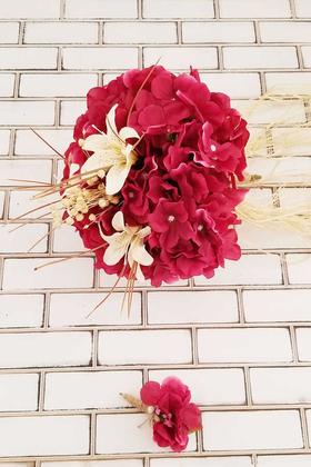 Gelin Buketi Fuşya Ortanca Lilyum Kuru Çiçek Şöleni 2li Set - Thumbnail