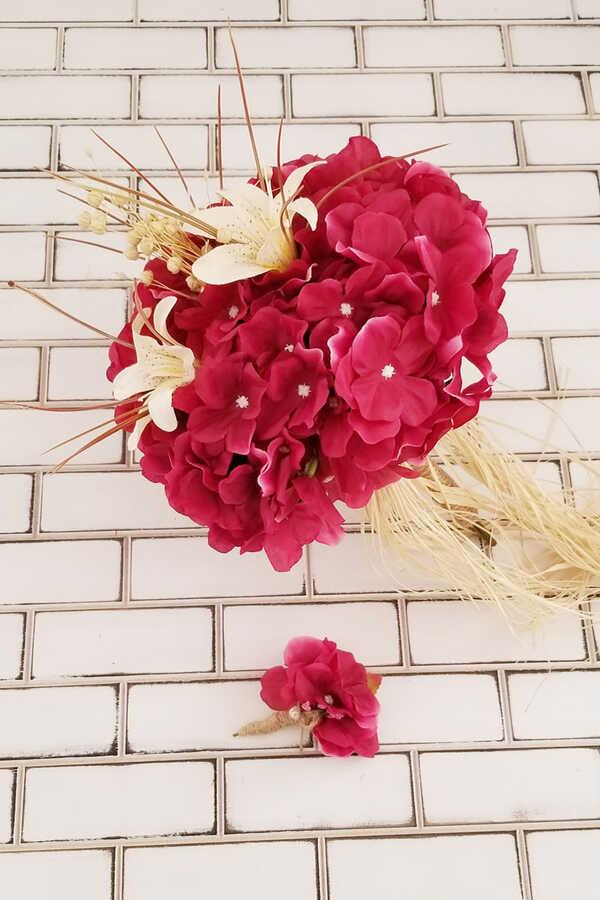 Gelin Buketi Fuşya Ortanca Lilyum Kuru Çiçek Şöleni 2li Set