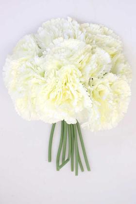 Yapay Çiçek Deposu - Yapay Çiçek 8li Karanfil Demeti Krem