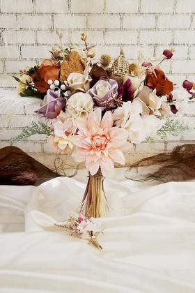 Yapay Çiçek Deposu - Exclusive Serisi Jasmin Gelin Buketi 2li Set
