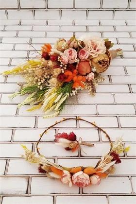 Yapay Çiçek Deposu - Aida Büyük Kuru Çiçek Gelin Buketi Turunculu 3lü Set
