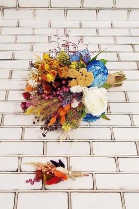 Yapay Çiçek Deposu - Beyaz Gül Saks Mavi Şakayık Kuru Çiçek Şöleni Alize Gelin Buketi 2li Set