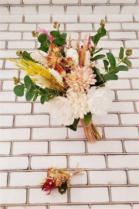Yapay Çiçek Deposu - Şakayık Kasımpatı Kuru Çiçek Şöleni Aral Gelin Buketi Beyaz Fuşya 2li Set