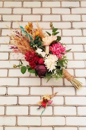 Yapay Çiçek Deposu - Şakayık Kasımpatı Kuru Çiçek Şöleni Aral Gelin Buketi Toprak Tonlar 2li Set