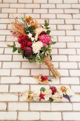 Yapay Çiçek Deposu - Şakayık Kasımpatı Kuru Çiçek Şöleni Aral Gelin Buketi Toprak Tonlar 3lü Set