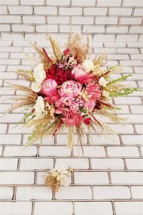 Yapay Çiçek Deposu - Gelin Buketi Baku Kasımpatı Şakayık Kuru Çiçek Kokteyl Fuşya Naturel 2li Set