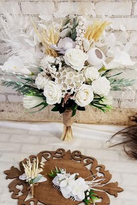 Yapay Çiçek Deposu - Exclusive Serisi Beyaz Kuğu Gelin Buketi 3lü Set