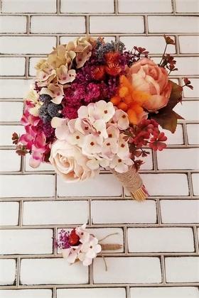 Yapay Çiçek Deposu - Gelin Buketi Desol Ortanca Şakayık Kuru Çiçek Şöleni 2li Set Pudra Mürdüm