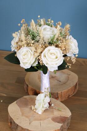 Yapay Çiçek Deposu - Gelin Buketi Economy 2li Set