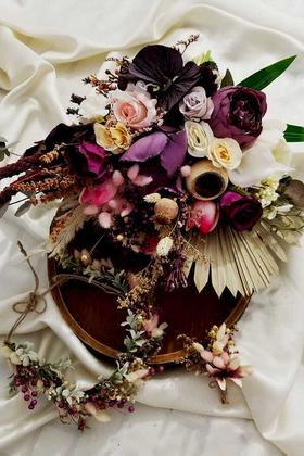 Yapay Çiçek Deposu - Gelin Buketi Fermina 3lü Set