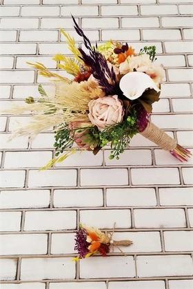 Yapay Çiçek Deposu - Gelin Buketi Fiona Şakayık Güller Karanfil Gala Kuru Kokteyl Turuncu Sarı 2li Set