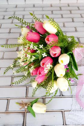 Yapay Çiçek Deposu - Herodes Islak Lale Gelin Buketi 2li Set Pembe Beyaz