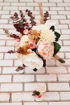 Yapay Çiçek Deposu - Beyaz Somon Fuşya Gül Kasımpatı Karanfil Karnavalı Katre Gelin Buketi 2li Set