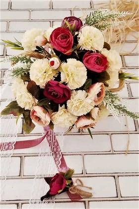 Yapay Çiçek Deposu - Gelin Buketi Krem Bordo Karanfil Şakayık Güller Karnavalı 2li Set
