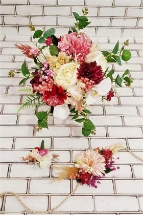 Yapay Çiçek Deposu - Şakayık Kasımpatı Kuru Çiçek Şöleni Kuay Gelin Buketi Beyaz-Mürdüm 3lü Set