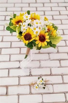 Yapay Çiçek Deposu - İri ve Minik Papatya Şöleni Sarı Beyaz Lupin Gelin Buketi 2li Set
